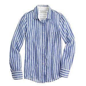 J.Crew Cotton Button Down Blouse, Blue & White